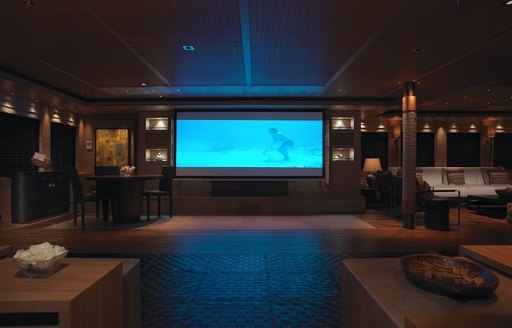 cinema in the main salon of superyacht naia