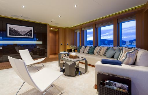 movie area in beautifully furnished skylounge aboard charter yacht GO
