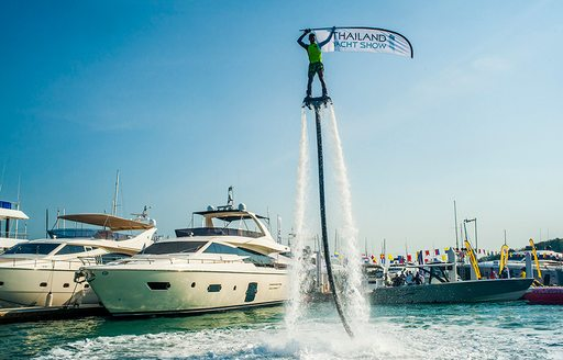 A flyboard demonstration on water at the first edition of the Thailand Yacht Show
