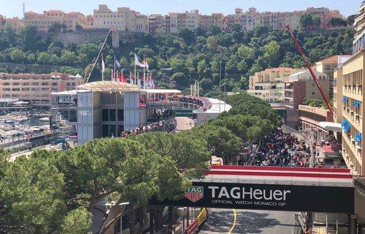 The Monaco Grand Prix circuit with a Tag Heuer sponsored bridge