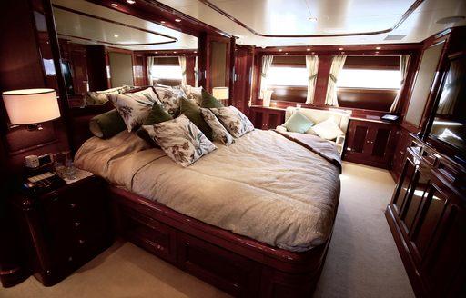 elegant master suite on board motor yacht DXB