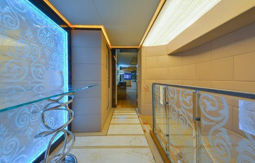 beautiful hallway of motor yacht 'Ghost II' with glass features