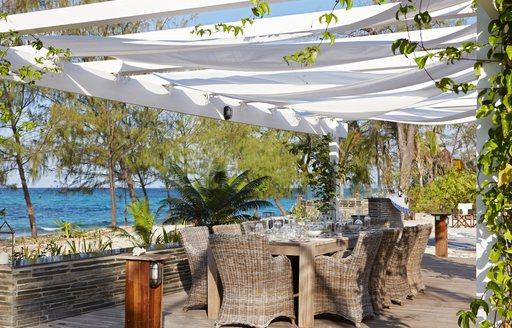 alfresco dining area on thanda island