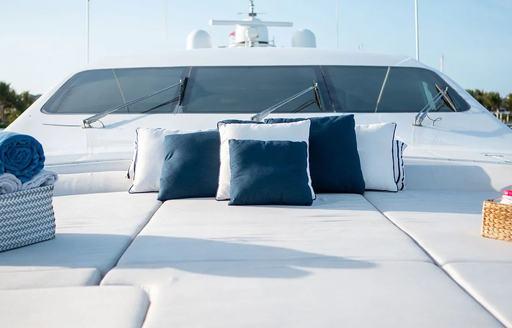 sunpad set up on board luxury yacht free spirit with cushions