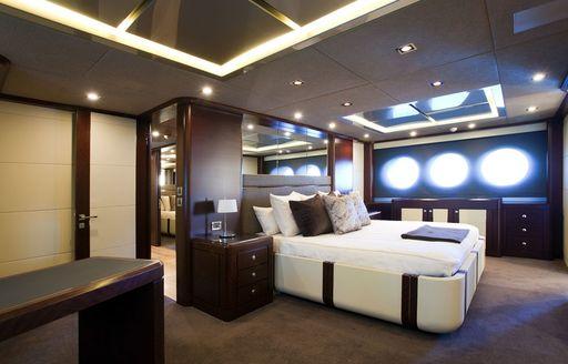 elegant master suite on board superyacht QUANTUM