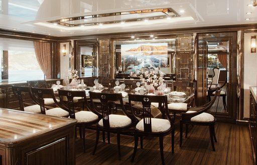 lady lena superyacht dining salon