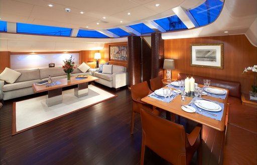 dining and lounging areas on board charter yacht SHOGUN