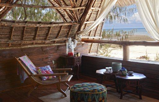 living area of bandas on thanda island