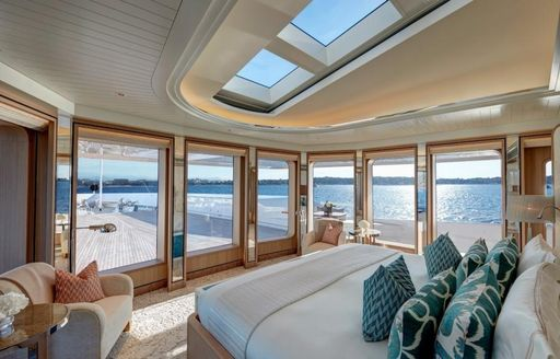 The master cabin on board superyacht JOY