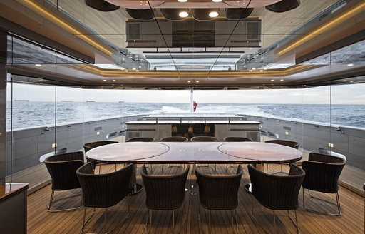 dining for 20 guests in the winter garden aboard charter yacht 'Silver Fast'