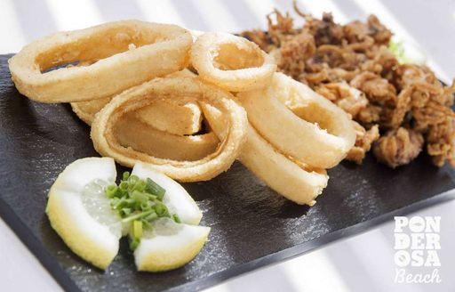 Deep-fried calamari at Ponderosa Beach restaurant, Mallorca