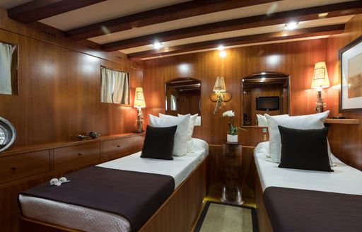 twin cabin on luxury charter yacht over the rainbow