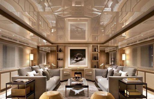 stylish main salon on board charter yacht Orient Star