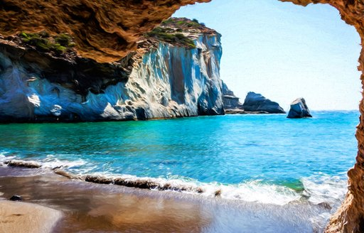 The ideal yacht charter destination of Greece, sandy beach and waves