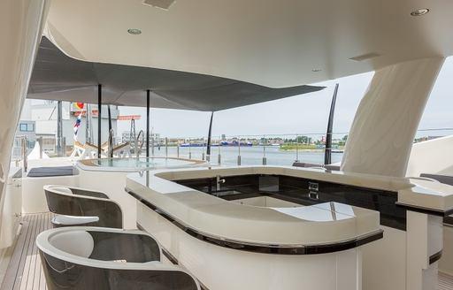 wet bar on the sundeck of charter yacht ELIXIR