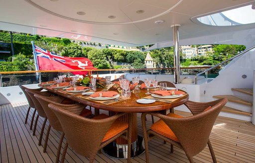 Alfresco seating and dining area on motor yacht DIANE