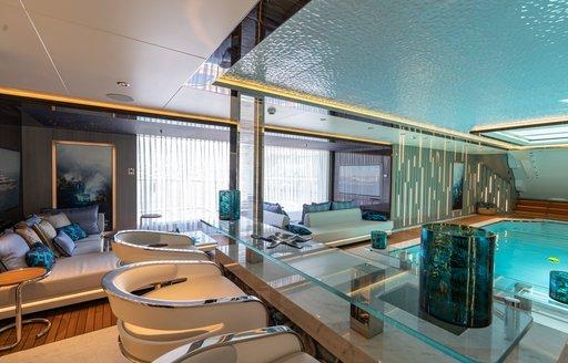 swim up bar overlooking pool on megayacht tatiana