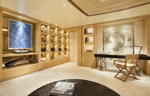 office forming part of the master suite on board luxury yacht GRACE