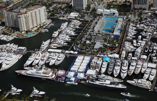 Aerial image of yachts lined up at FLIBS 2019