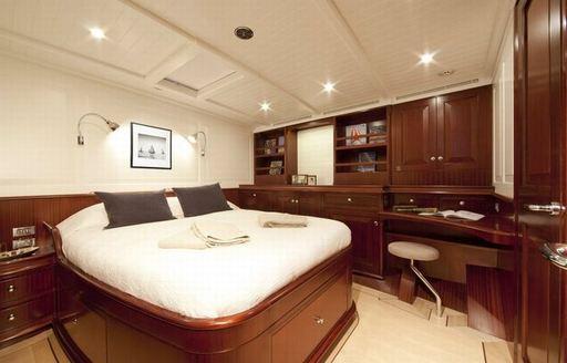 Master cabin on board luxury charter yacht Aurelius 111