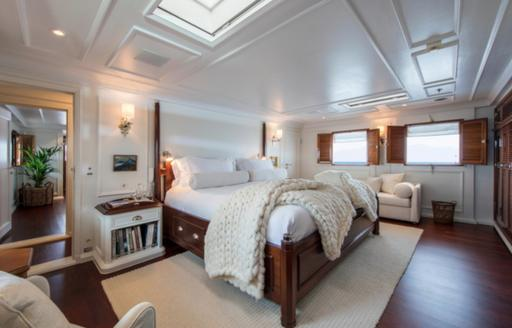 light and airy master suite on board luxury yacht Haida 1929