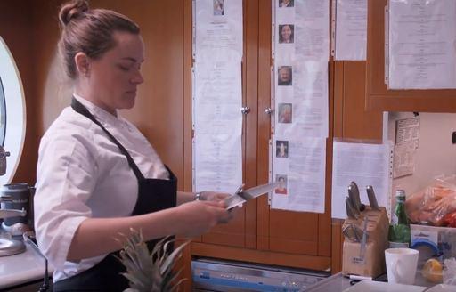 New Chef Rachel Hargrove sharpening knife