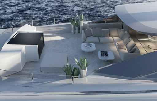 lounging area on board sundeck of motor yacht OURANOS