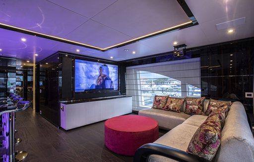 cinema style tv screen on benetti luxury yacht 'happy me'