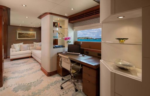 the private office that is also part of the master's suit in motor yacht time for us
