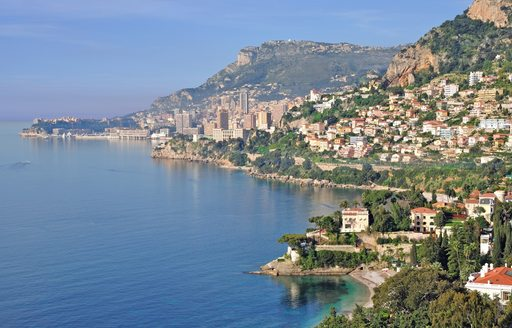 view of the coast of Monaco along the French Riviera
