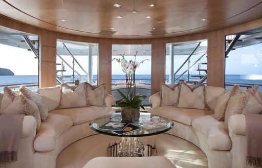 Stunning sky lounge onboard motor yacht FRIENDSHIP