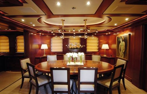 Charter yacht ATHENA's elegant formal dining