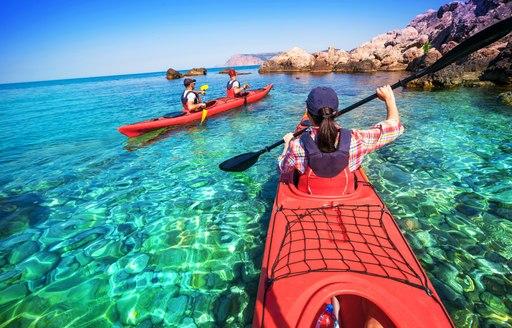 People kayaking in the Bahamas