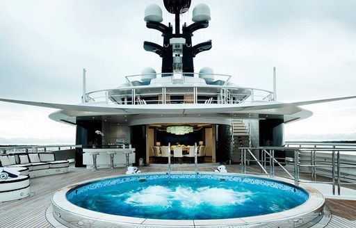 Pool on the superyacht that Kylie Jenner chartered for her birthday