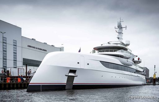 Luxury yacht EXCELLENCE leaving Abeking and Rasmussen facilities