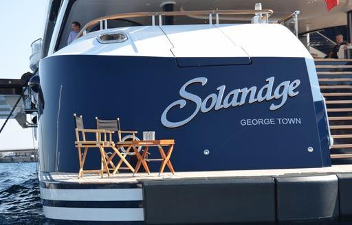 Superyacht Solandge on display at the 2014 Monaco Yacht Show