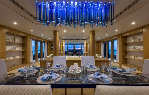 Formal dining area on Superyacht BACA