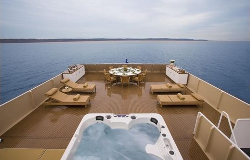 luxury expedition yacht SURI deck jacuzzi and seating
