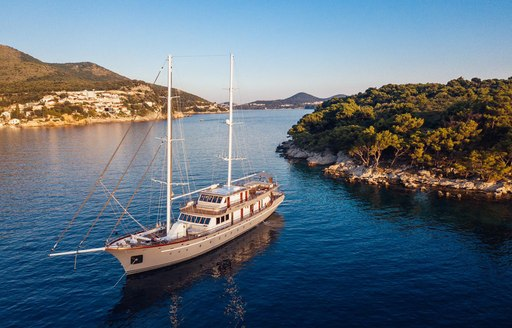 Sailing yacht in Greece at anchor