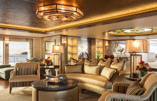 beautifully-styled salon aboard motor yacht SOLANDGE