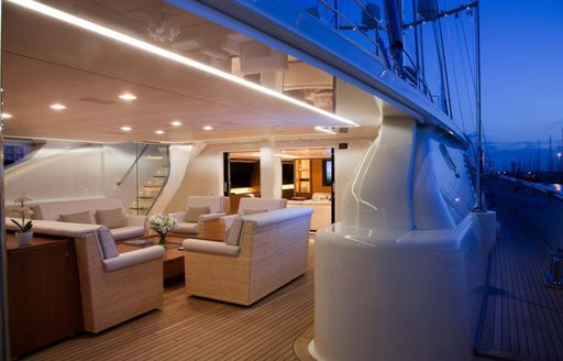 Social area on luxury charter yacht FIDELIS