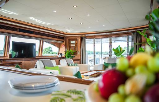 Interior of Superyacht Queen of Sheba, with fruit in foreground