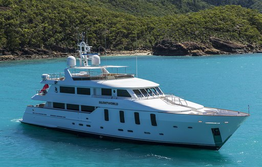 motor yacht Silentworld anchors on a yachting vacation in Australia