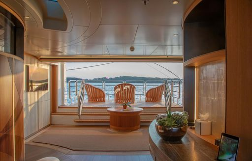 sea terraces on luxury yacht hasna