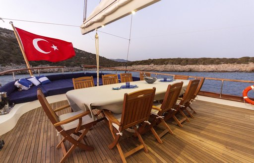 Aft deck dining area onboard SY Babylon