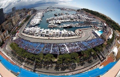 view of the monaco grand prix track and harbour from the Caravelles Roof Top