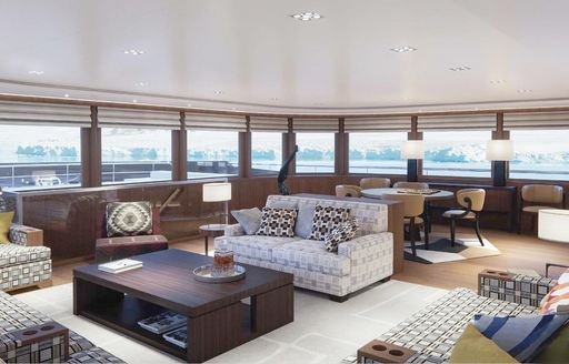 A graphic rendering of the interior of superyacht Planet Nine