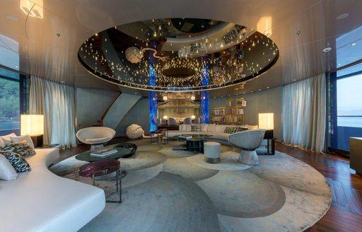 Large living area on superyacht SAVANNAH