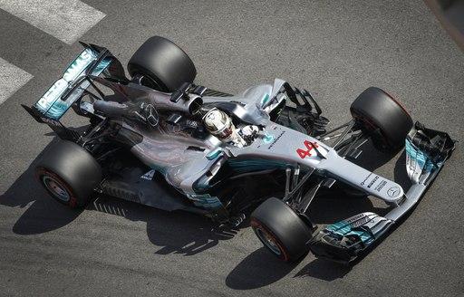 Lewis Hamilton takes to the Monaco Grand Prix track in his Mercedes