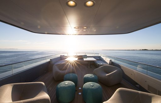 loose Paola Lenti furniture on sundeck of motor yacht 'Silver Fast'